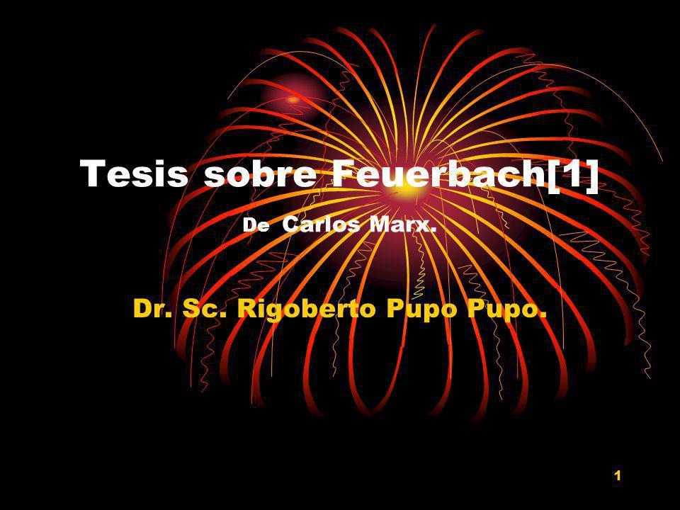 Tesis sobre Feuerbach[1] De Carlos Marx.
